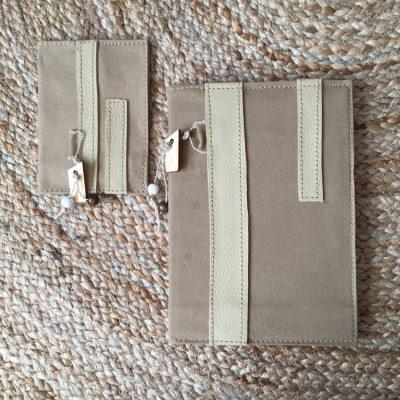 notebook en pasportcover beige
